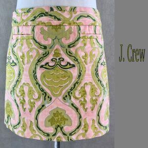 J. Crew Pink Green Baroque Print Cotton Skirt